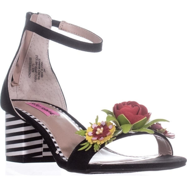 Betsey Johnson Anders Ankle-Strap Dress Sandals, Black - 7.5 us
