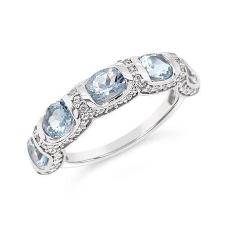 925 Sterling Silver 1 3/4 Carat Genuine Aquamarine & White Zircon Anniversary Band Ring for Women (Size : 5)