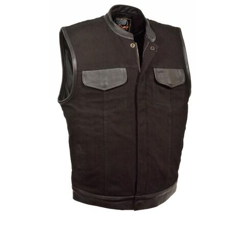 Mens Denim Hidden Zipper MC Vest with Leather Trim