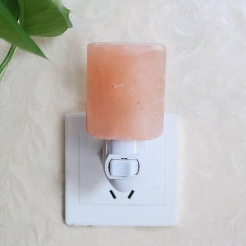 Exquisite Cylinder Natural Rock Salt Himalaya Salt Lamp Air Purifier Amber - 110-120V