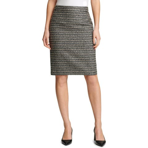 DKNY Womens Pencil Skirt Tweed Plaid