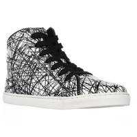 Splendid Sebastian High Top Zipper Lined Fashion Sneakers, White