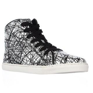 Splendid Sebastian High Top Zipper Lined Fashion Sneakers - White