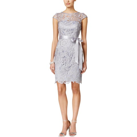 Adrianna Papell Womens Party Dress Illusion Lace