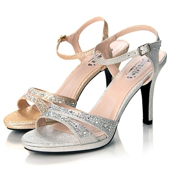 c9f347140236 Shop Sweetie s Shoes Silver Jeweled Strappy Sylvia Dress Sandal - Free  Shipping Today - Overstock - 19491269