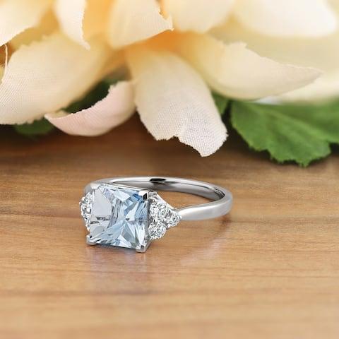 Auriya 1 7/8ct Princess-cut Aquamarine and Diamond Engagement Ring 1/3ctw 14k Gold