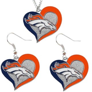 Denver Broncos NCAA Swirl Heart Pendant Necklace And Earring Set Charm Gift