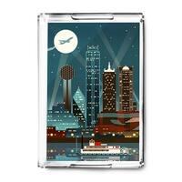 Dallas, Texas Retro Skyline (no text) - LP Artwork (Acrylic Serving Tray)
