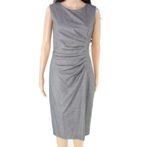 Max Mara Womens Dress Black White Size 4 Sheath Ruched Sleeveless