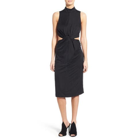 Kendall Kylie Knot Front Midi Dress, Black, Small