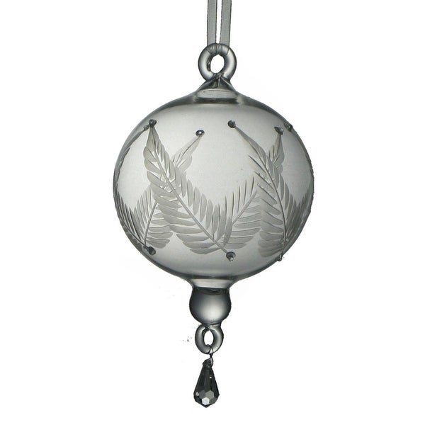 "Set of 2 Mouth Blown Egyptian Glass Etched Ball & Drop Christmas Ornament 5.5"" - CLEAR"