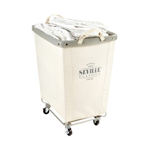 """Seville Classics Commercial Grade Heavy-Duty Extra Large Canvas Laundry Basket Hamper with Wheels, 22"""" D x 16"""" W x 27"""" H"""