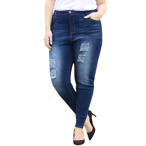 Unique Bargains Women's Plus Size Distressed Mid Rise Washed Skinny Jeans - Blue