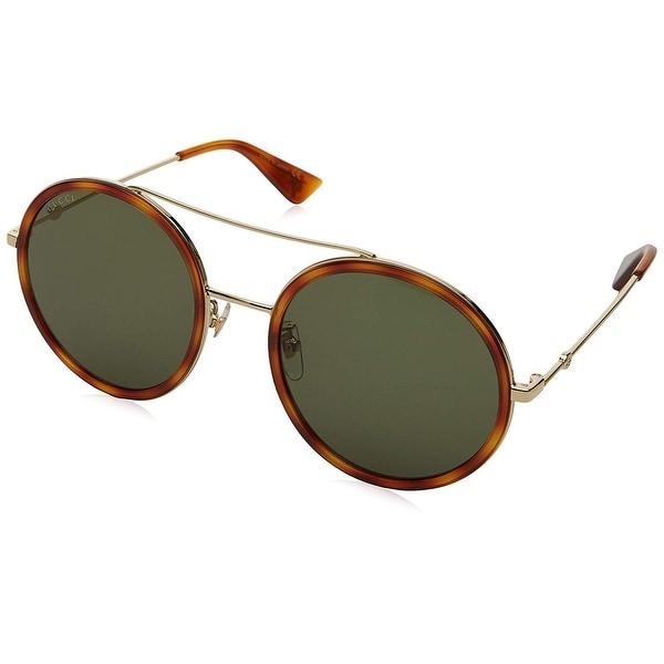 382a6416f8a Gucci Women  x27 s Urban Web Block Round Sunglasses Gold Havana With Green  Lens