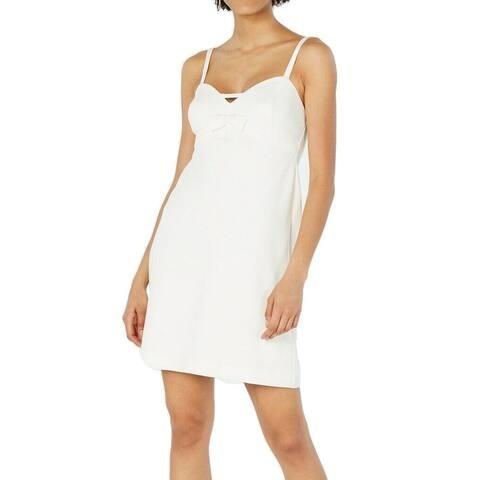 Betsey Johnson Womens Dress White Size 16 Sheath Bow Cutout Scuba