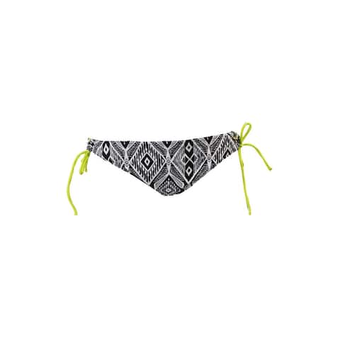 Raisins Black White Tribal-Print Side-Tie Hipster Swim Bottom XL