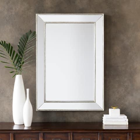 "Wilkes Silver Large Rectangular Wall Mirror (28x40) - 28"" x 40"""