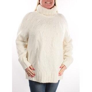 $175 MICHAEL KORS Ivory Cowl Neck Long Sleeve Sweater L B+B
