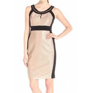 Jax NEW Gold Womens Size 6 Colorblock Metallic Chain Neck Sheath Dress