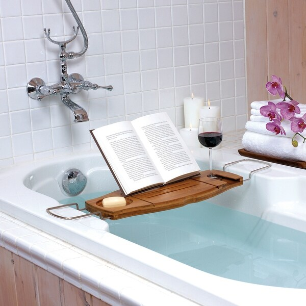 "Umbra 020390 Aquala 28"" Wide Bamboo Bathtub Caddy with Wine Glass Holder by Luciano Lorenzatti"