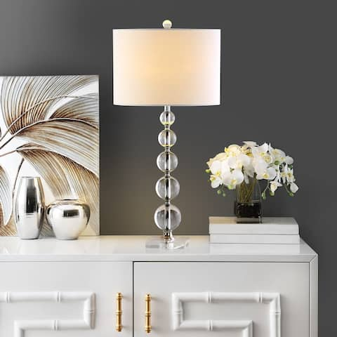 """Safavieh Lighting 29-inch Liam White Shade Stacked Crystal Ball Table Lamp - 14""""x14""""x29"""""""