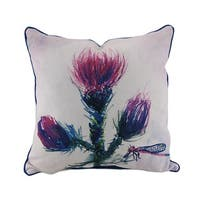 Betsy Drake Thistle Blue and Beige In/Outdoor Decorative Throw Pillow 18in.
