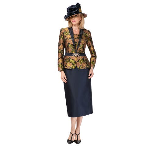 Giovanna Signature Women's 2-pc Floral Brocade & Silk Wool Skirt Suit