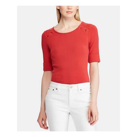 RALPH LAUREN Womens Red Short Sleeve Jewel Neck Top Size M