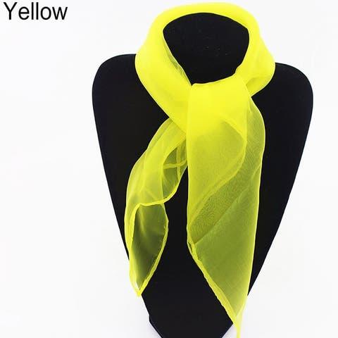 Women Fashion Pure Candy Color Soft Chiffon Silk Neck Scarf Square Wrap Shawl