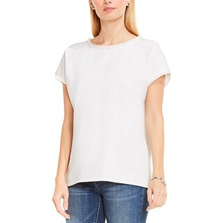 Vince Camuto Womens Pullover Top Twill Terry Fray