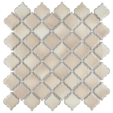 SomerTile 12.375x12.5-inch Antaeus Truffle Porcelain Mosaic Floor and Wall Tile