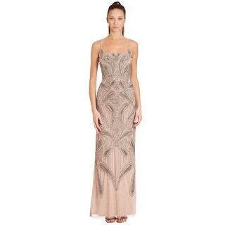 Aidan Mattox Beaded Scoop Neck Long Column Evening Gown Dress