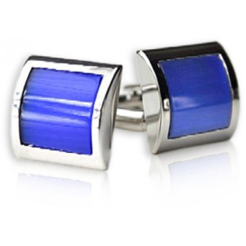 Electric Blue Curved Cufflinks