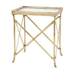 "25.25"" Gold Finish and Marble ""Kate"" Occasional Table"