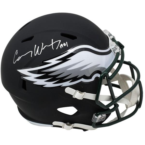 f0baf1f5403 Carson Wentz Signed Eagles Full Size Speed Black Matte Replica Helmet  Fanatics