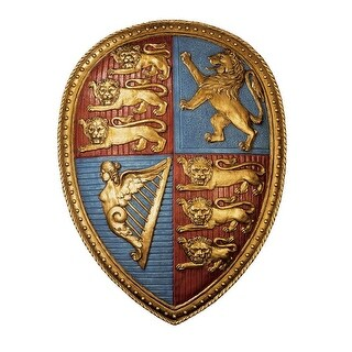 QUEEN VICTORIAS COAT OF ARMS SHIELD DESIGN TOSCANO medieval wall decor lion