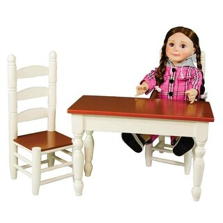Off White Wooden Farmhouse Kitchen Table And Two Chairs Doll Furniture Fits 18 Inch American Girl Dolls