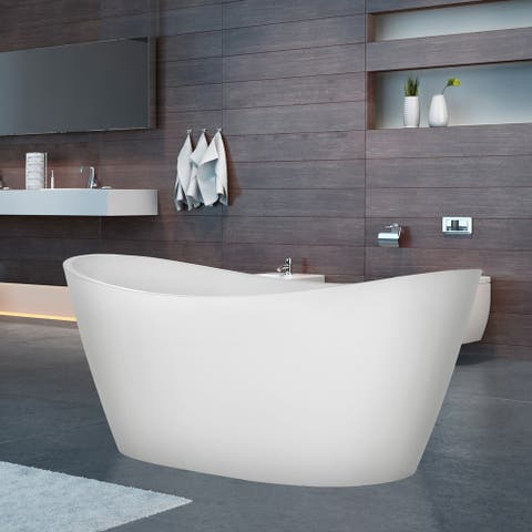 """69"""" x 29"""" Freestanding Soaking Acrylic Bathtub in White with Polished Chrome Overflow and Drain"""
