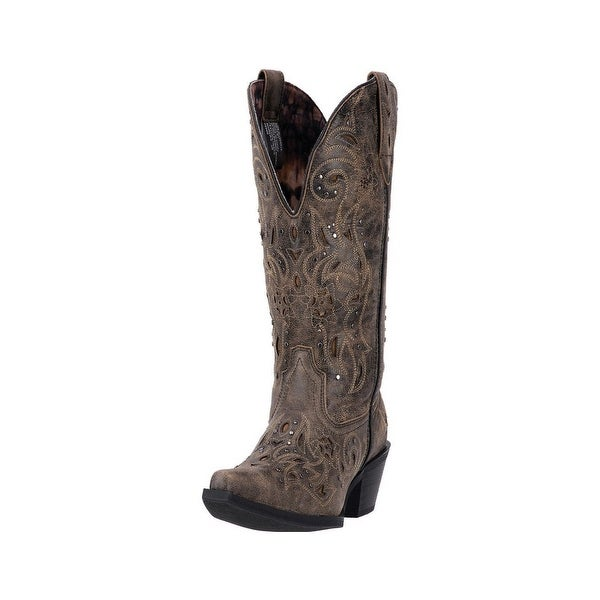 Laredo Western Boots Womens Scandalous Snip Toe Distressed Brown