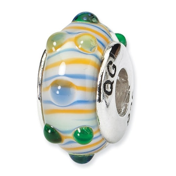 Sterling Silver Reflections Blue/ Green/Yellow Stripes Hand-blown Glass Bead