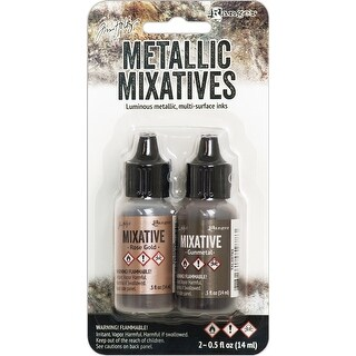 Rose Gold & Gunmetal - Tim Holtz Alcohol Ink Metallic Mixatives .5oz 2/Pkg