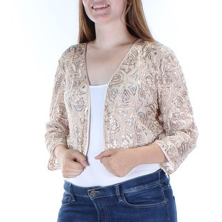 TAHARI $298 Womens New 1367 Gold Embellished Sequined 3/4 Sleeve Top 14 B+B