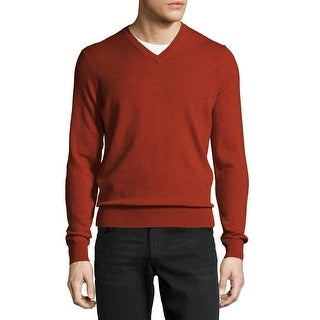 Bloomingdales Mens Pure Cashmere V-Neck Sweater XX-Large Burnt Orange Knitwear