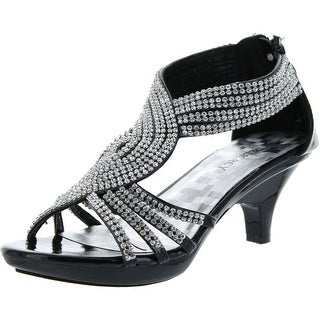 Delicacy Womens Angel-37 Strappy Rhinestone Dress Sandal Low Heel Shoes