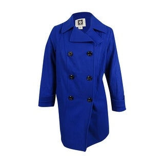Anne Klein Women's Plus Size Double-Breasted Peacoat (1X, Cobalt) - cobalt