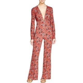 Free People Womens Some Like It Jumpsuit Floral Print V-Neck
