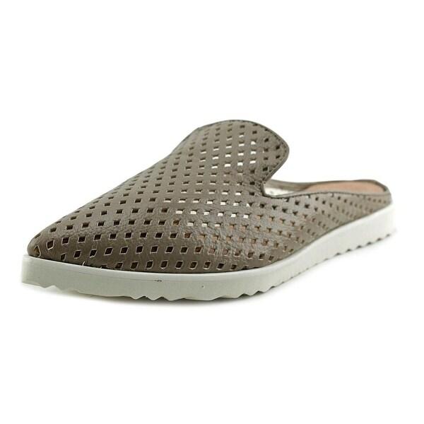 All Black Perforated Sneaker Slide Women  Open Toe Leather Brown Slides Sandal