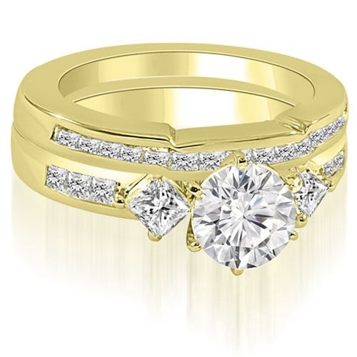 1.65 cttw. 14K Yellow Gold Round And Princess Cut Diamond Bridal Set