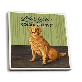 Golden Retriever - Life is Better - LP Artwork (Set of 4 Ceramic Coasters)