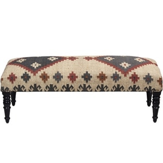 "Link to Handmade Kilim Upholstered Wooden Bench (India) - 48"" L x 16"" W x 18"" H Similar Items in Living Room Furniture"